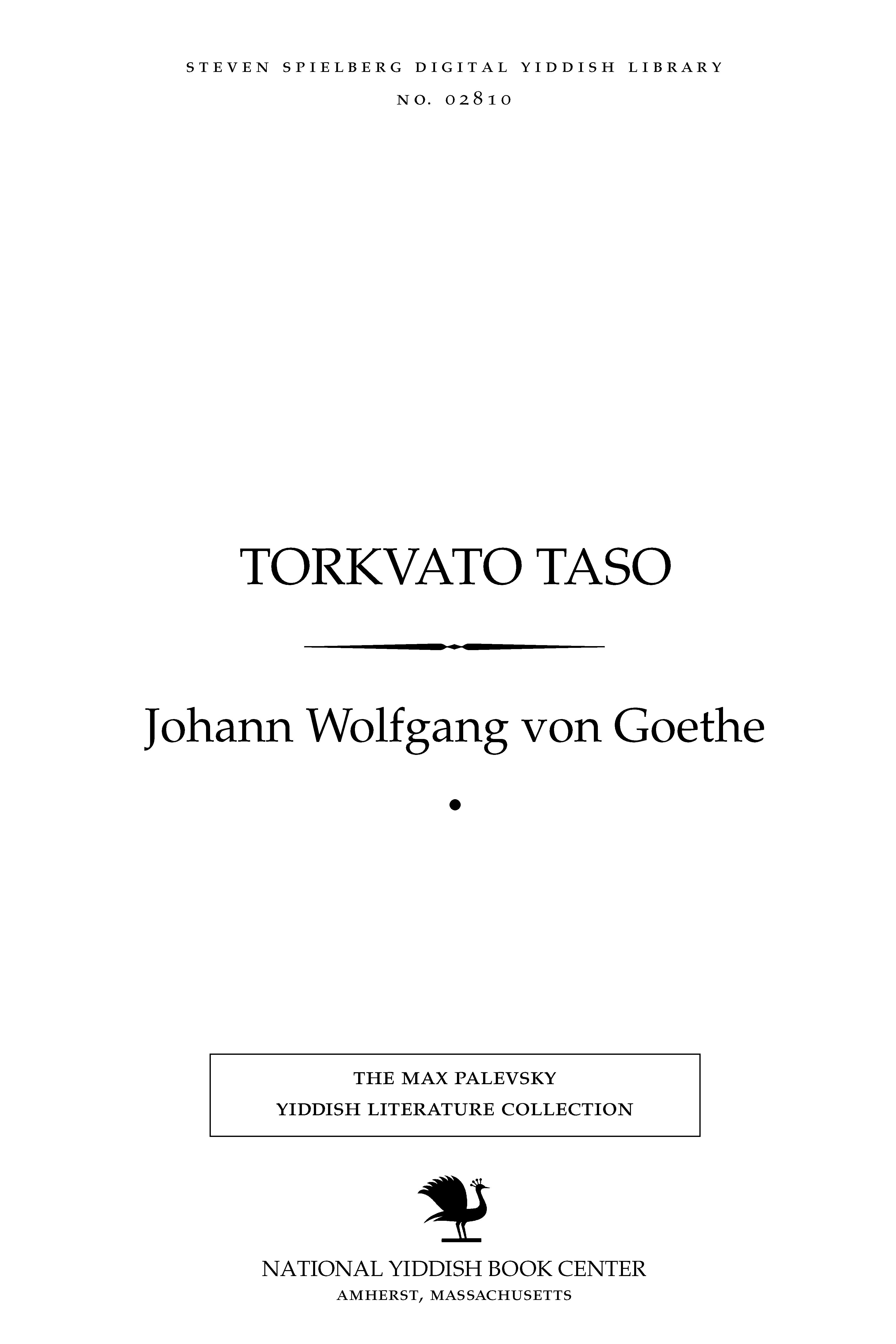 Cover of: Ṭorḳṿaṭo Ṭaso
