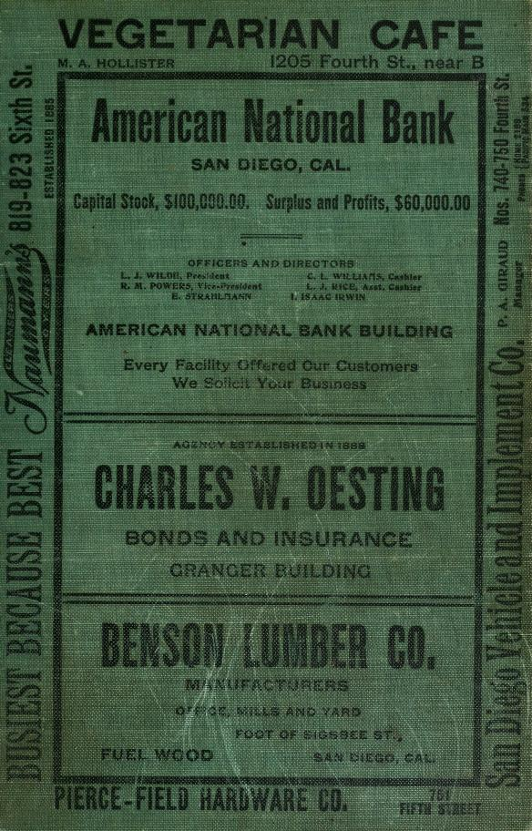 San Diego City and County Directory - 1909 by